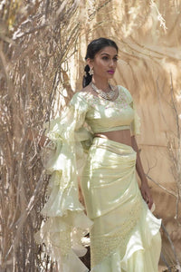 Mint Green Georgette Ruffle saree with Crystal and spray work