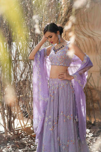 Powder purple multicolour crystal work net lehenga with cutwork dupatta