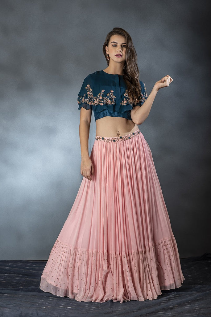 Pink Pleated Skirt with Blue Double Layered Cape Blouse