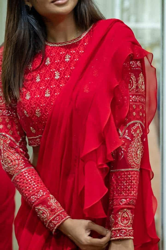 Red Ruffle draped spree with chikankari blouse