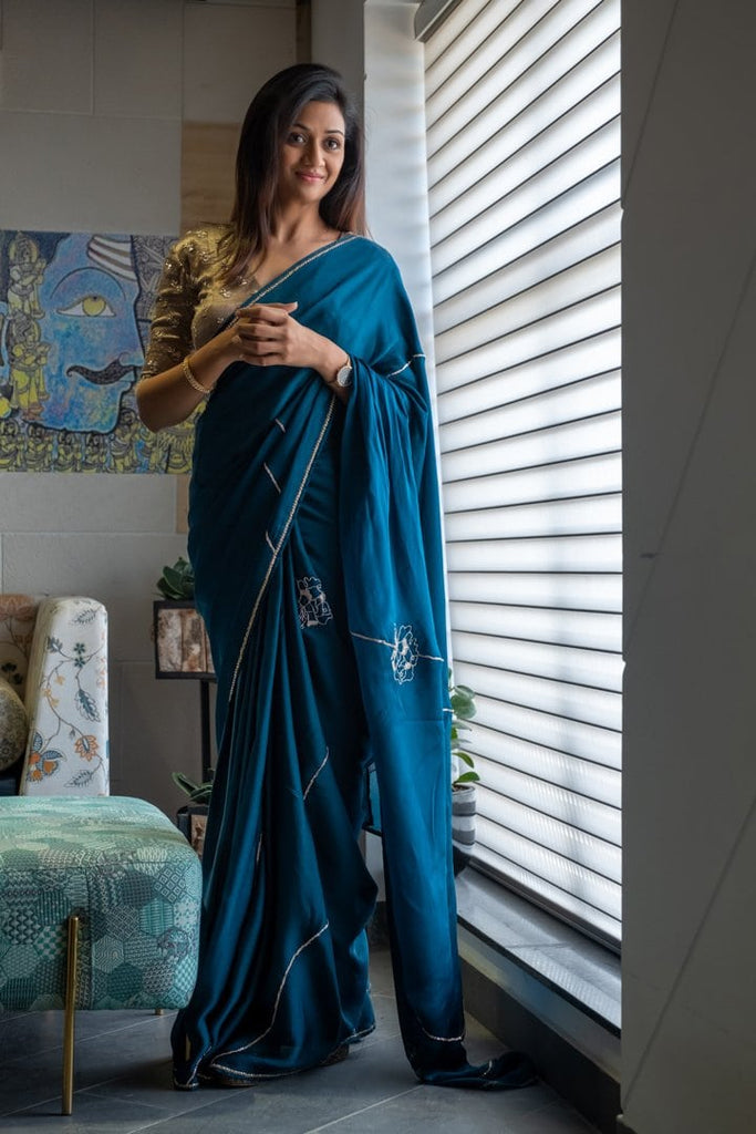 Metallic Biege Velvet Blouse with Teal blue Embroidered Saree