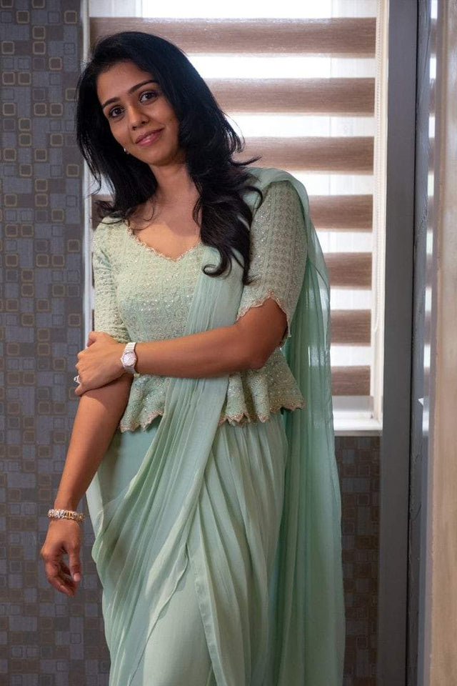 Mint Green Draped Saree with peplum Chikankari blouse