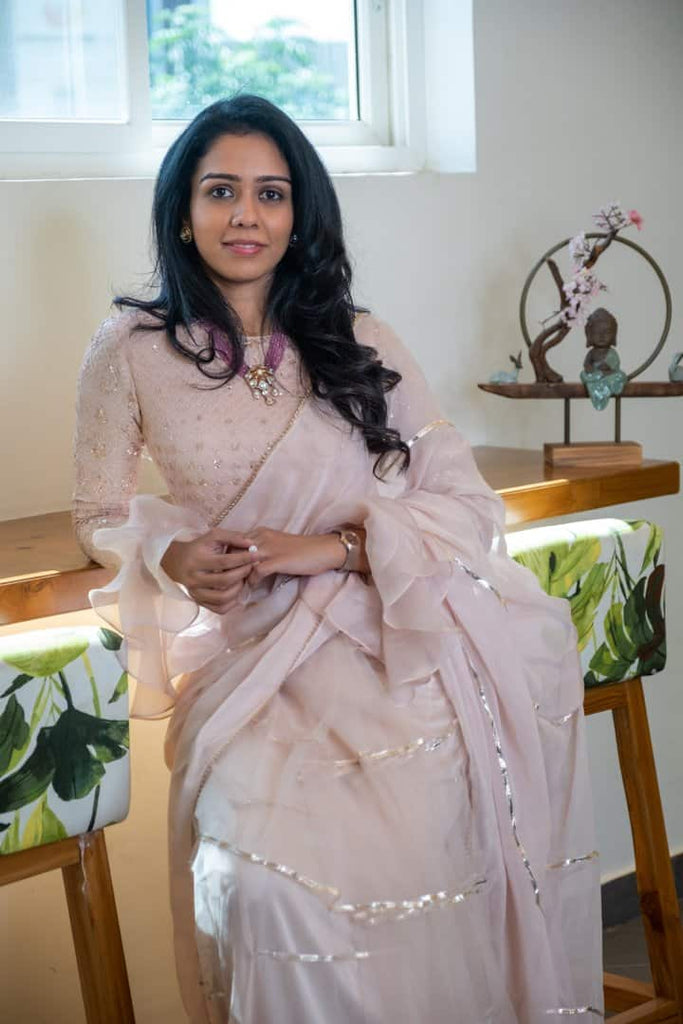 Sand Pink saree with chikankari blouse with ruffle detailing