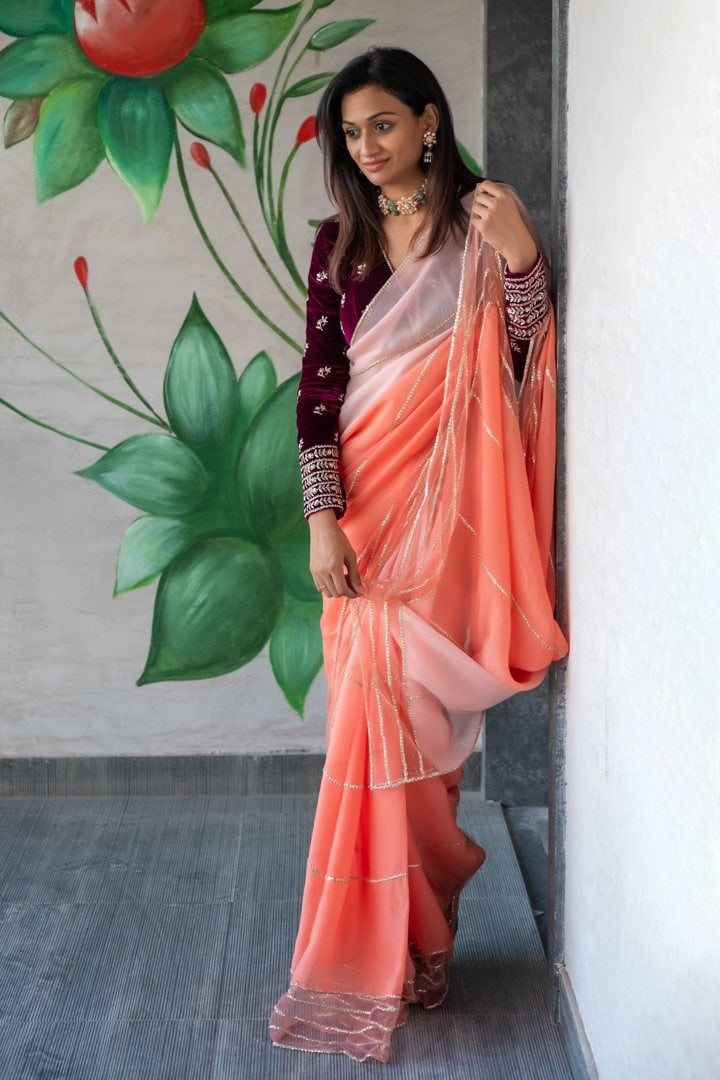 Magenta Blouse with  Ombre Coral saree