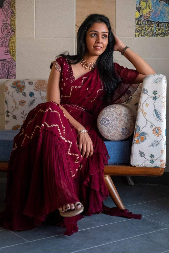 Burgandy Draped saree with Chikankari Blouse