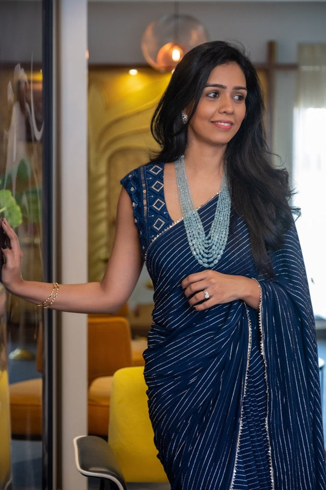 Midnight Blue Chikankari Blouse with Georgette Stripes Saree