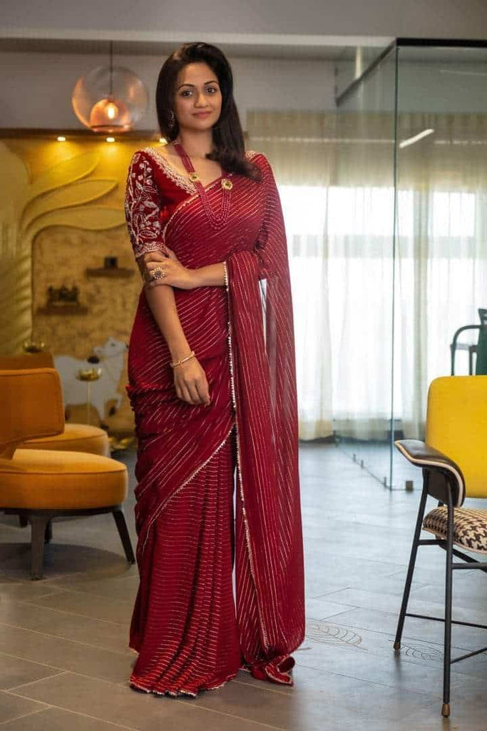 Cherry Red Velvet Blouse with Georgette Stripes Saree