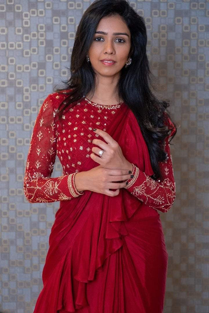 Cherry Red Chikankari Blouse with Georgette Draped  Ruffled Saree