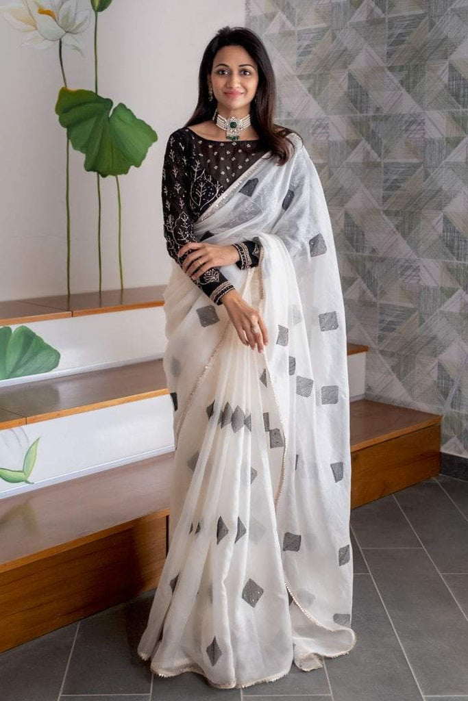 Black Chikankari Blouse with Thread Embroidered Organza Saree