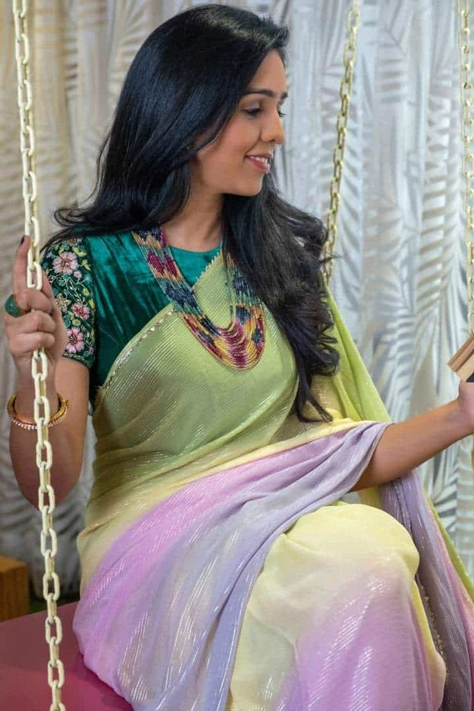 Forest Green Velvet Blouse with Multi Colored Shimmer Saree