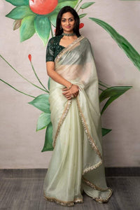 Forest Green Chikankari Blouse with Sage Green Organza Saree