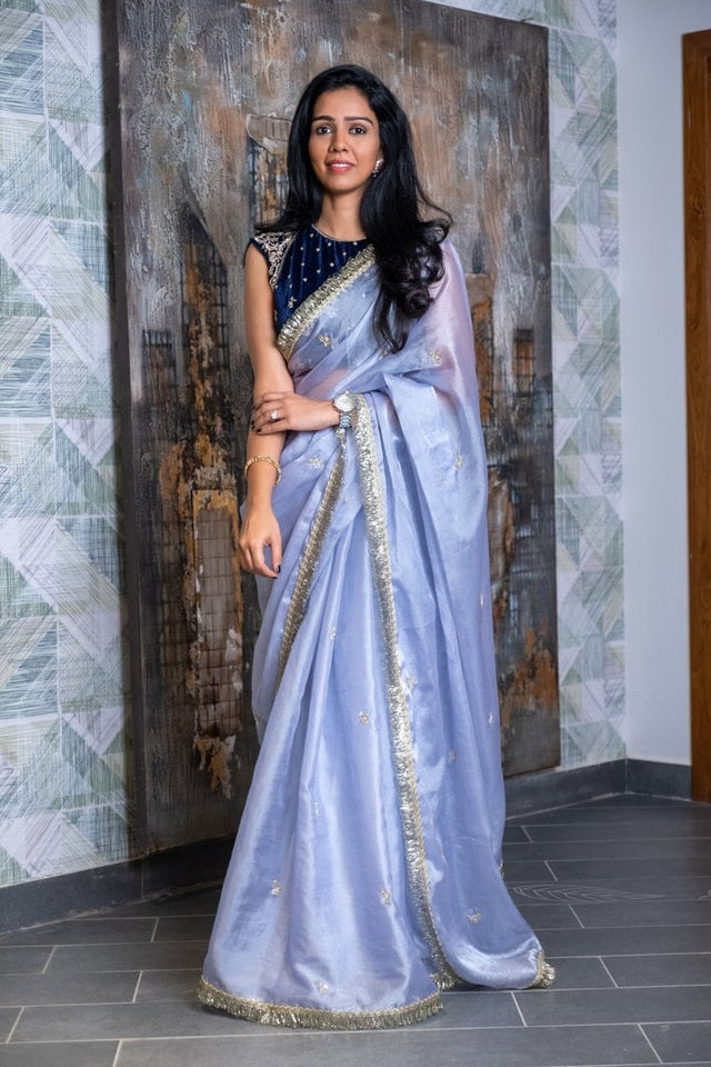 Deep Blue Velvet Blouse with Powder Blue Organza Saree