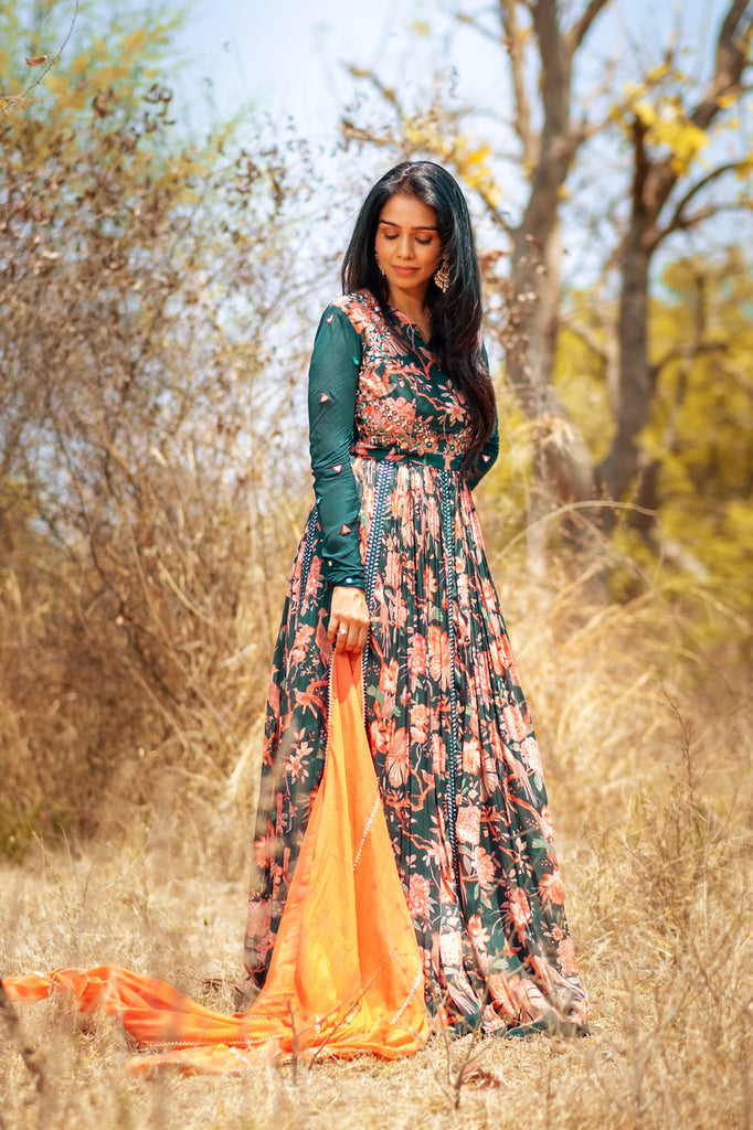 GREEN FLORAL ANARKALI WITH DUPATTA