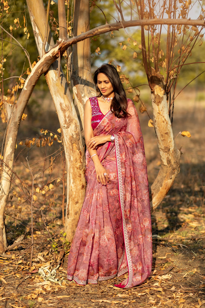 Floral Saree with Chikankari blouse