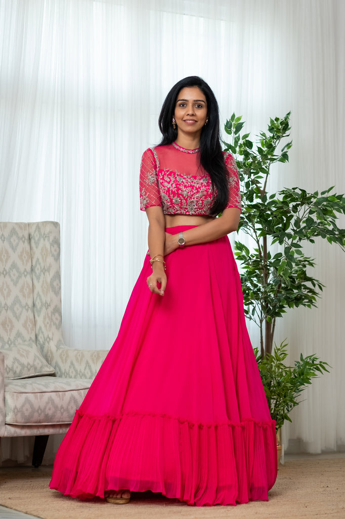 Pink Tiered Skirt with Embroidered Blouse