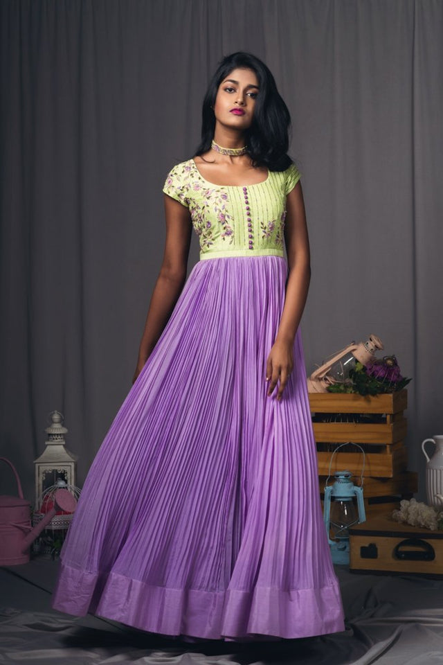 Mint Green and Lavender Pleated dress