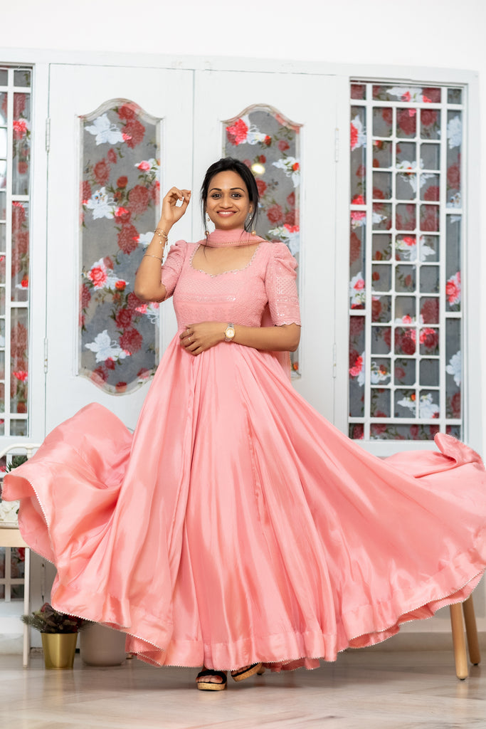 Peach Chikankari Anarkali with dupatta