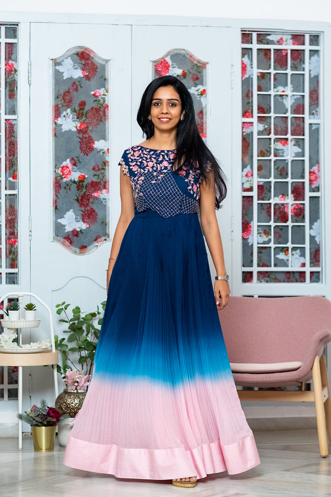 Blue to Pink Ombre Gown