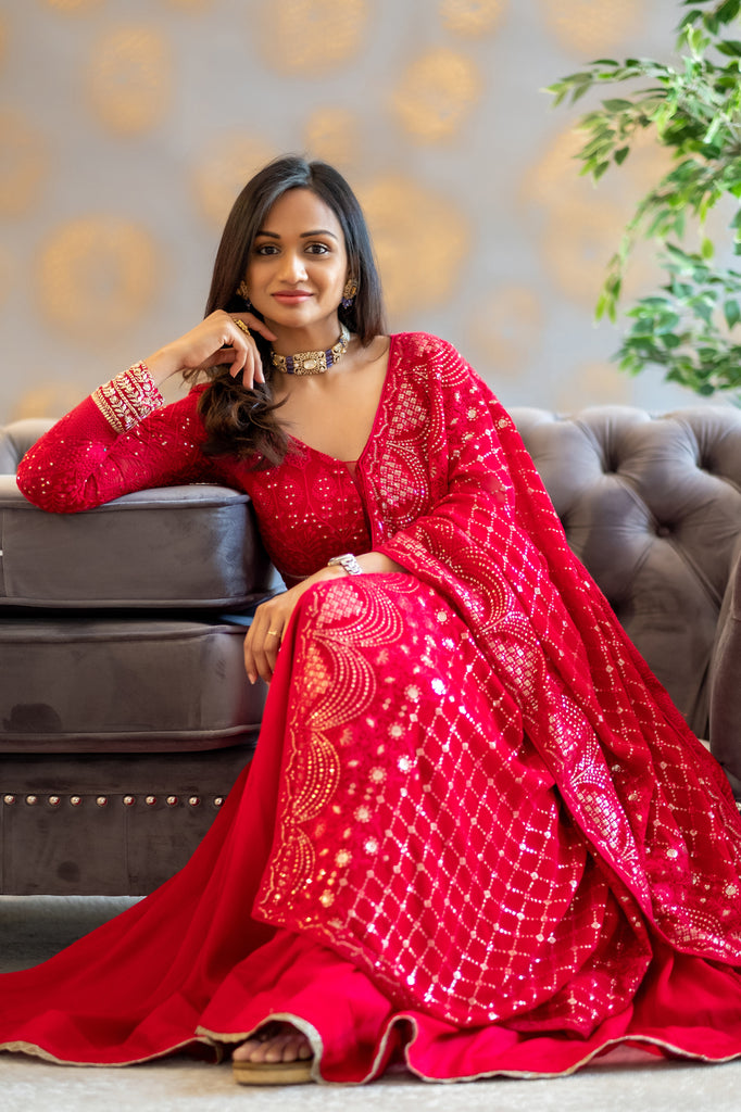 Red Chikankari anarkali with attached dupatta