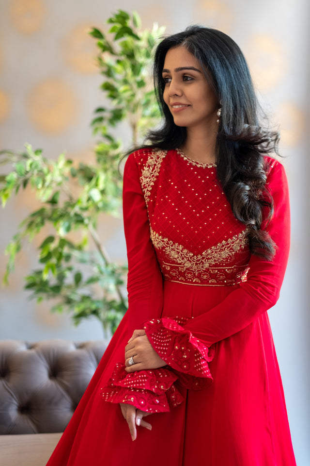 Red Chikankari anarkali with full sleeve ruffle detailing