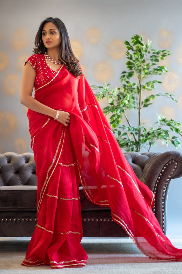 Red Chikankari saree with Sleeves Blouse