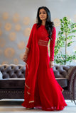 Red Chikankari jumpsuit with full sleeves detailing and attached drape dupatta