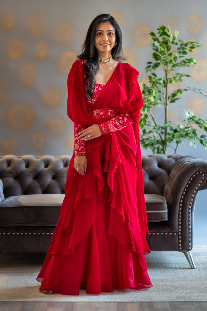 Red Chikankari blouse with georgette layered saree