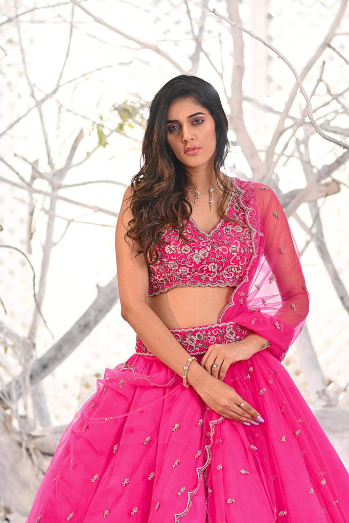 IS-CU-02  Hot Pink lehenga with sleeveless crystal work blouse and cut work dupatta