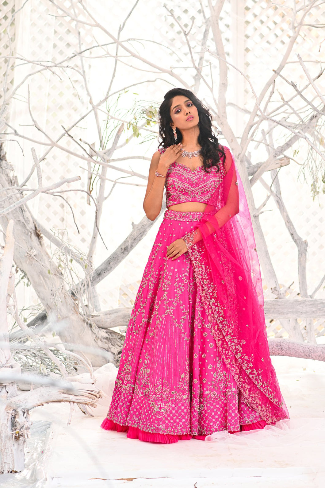 IS-BR-03  Hot Pink lehenga and blouse with zardosi work and cutwork dupatta