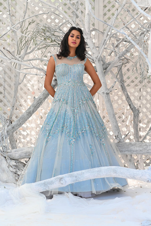 IS-BR-64 Elsa Blue crystal work sleeveless gown