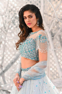 IS-BR-05  Elsa Blue lehenga and blouse with crystal work detailing