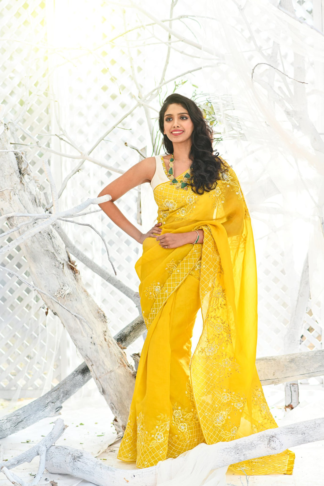 IS-BR-49 Yellow saree with white thread embroidery and white sleeveless blouse.