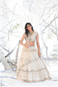 IS-BR-04 White Glass Beads Embellished Lehenga and Blouse