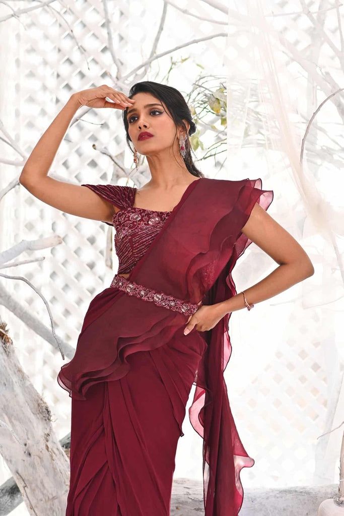 IS-BR-56  Burgundy draped ruffle saree with crystal work blouse