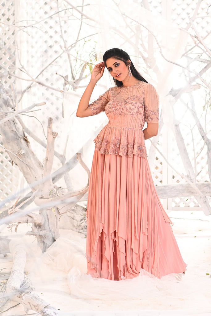 IS-BR-20 Peach assymmetrical dress with peplum crystal work top