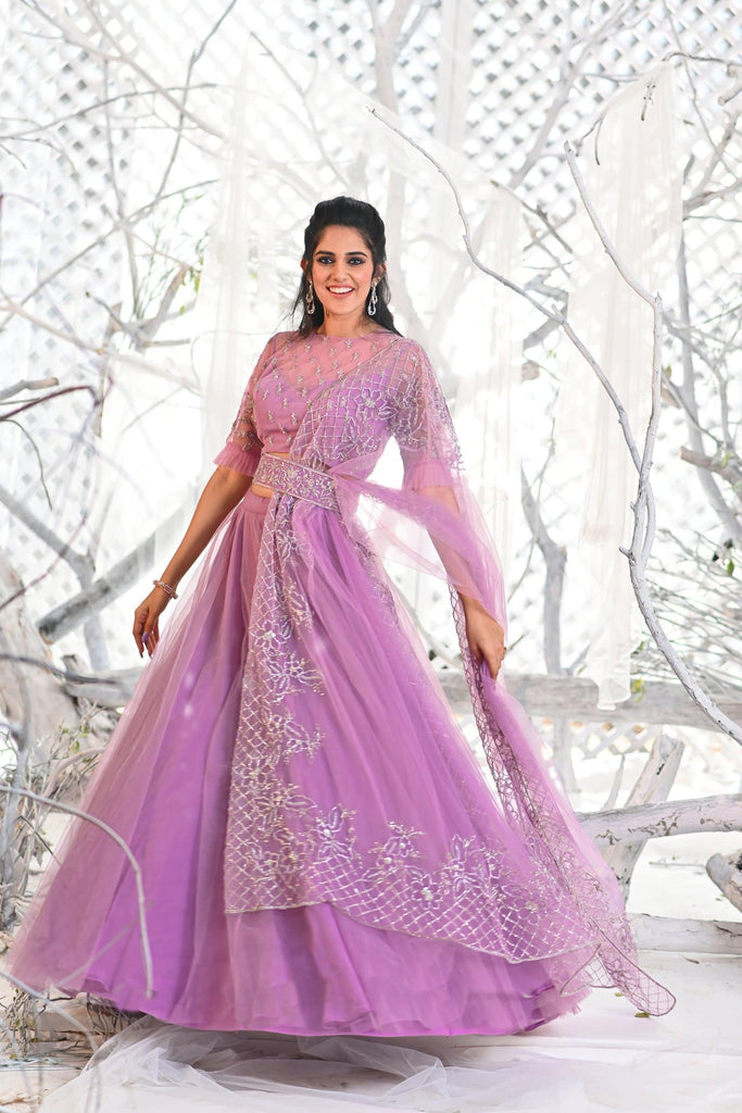 IS-BR-59 Lavender lehenga and blouse with zardosi work dupatta.