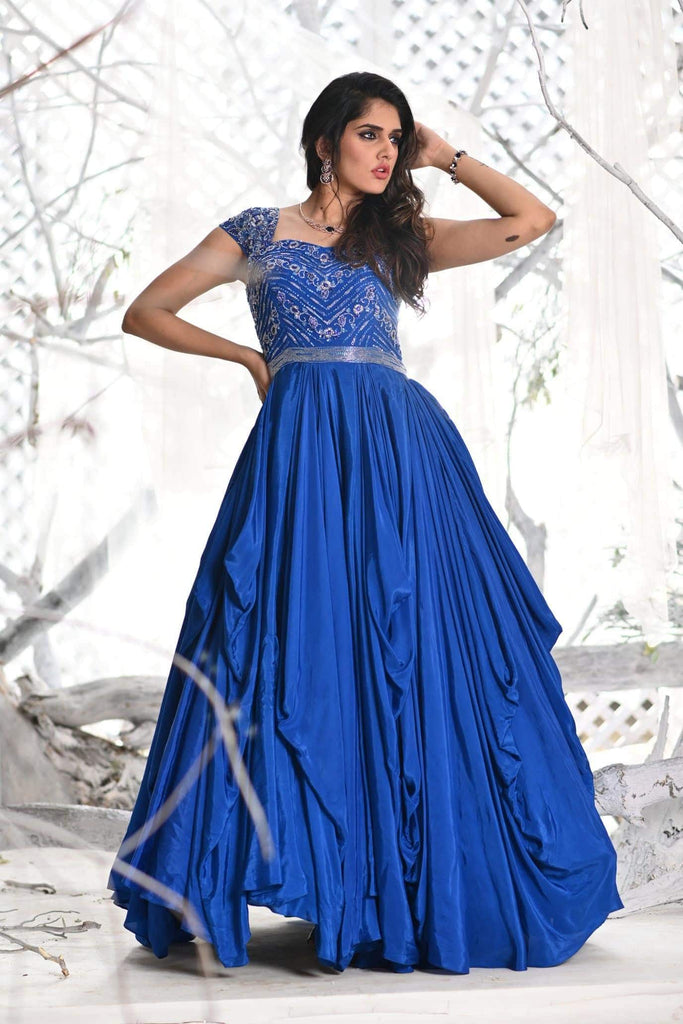 IS-BR-44 Ink Blue draped gown with crystal work.