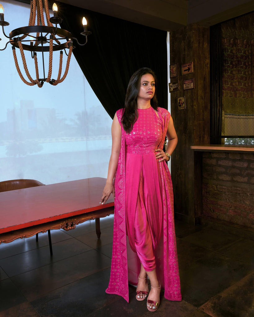 Pink Dotti Dress with Chikankari Long Shrug