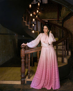 Pink Chikankari Palazzo Pants with Ruffle drape and Bishop Sleeves Shirt