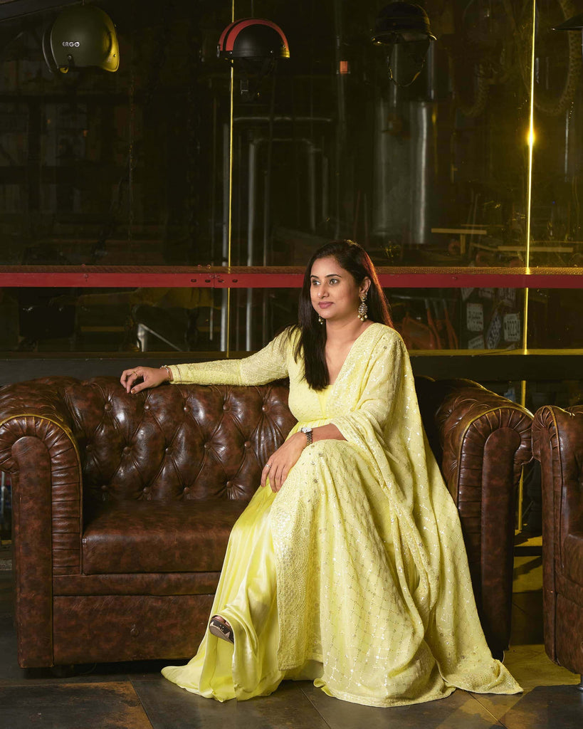 Pastel Yellow Anarkali with attached Chikankari Dupatta