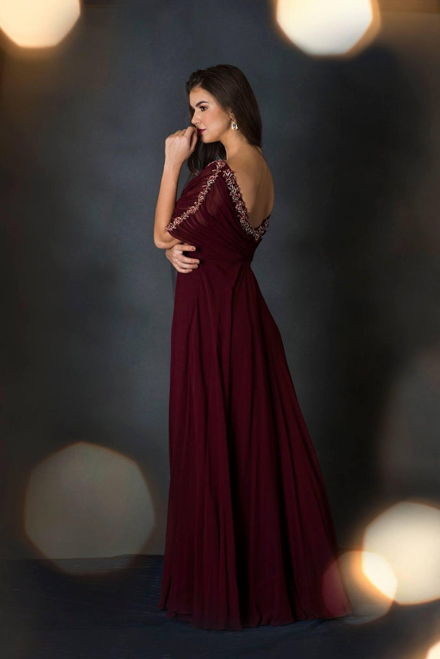 Burgundy Cowl Neck Maxi Dress
