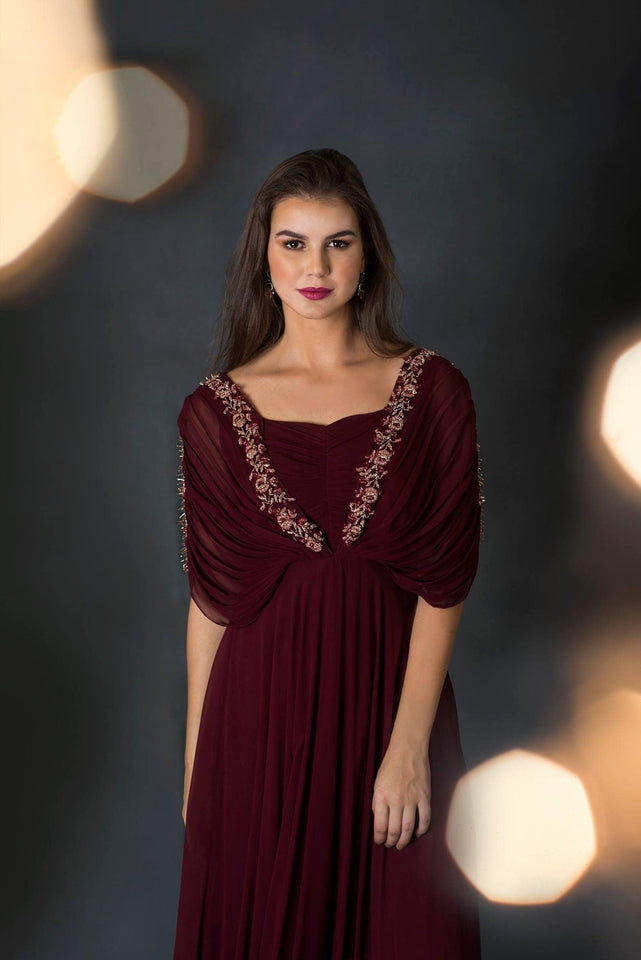 Maroon Cowl Neck Maxi Dress