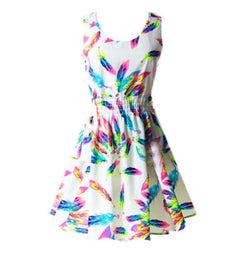 EMMA Rainbow Feather Print Chiffon Summer Dress - Shakespurr