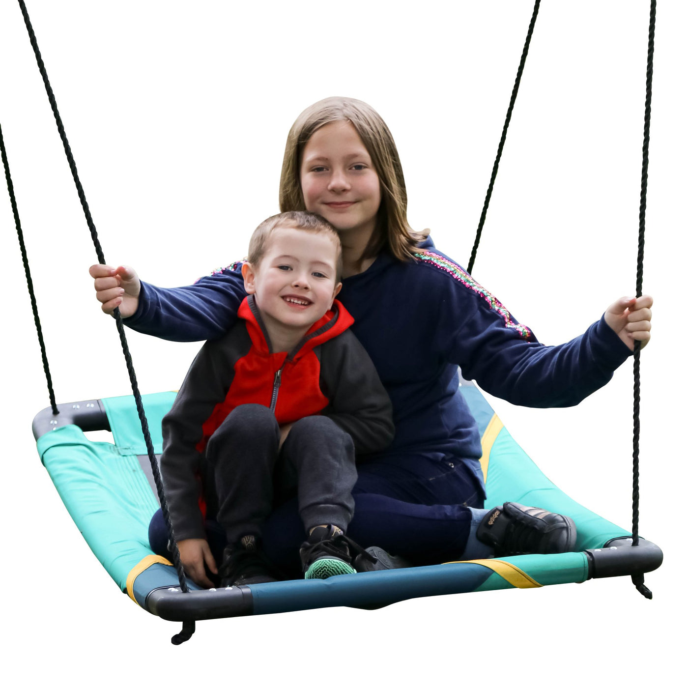 Rainbow Gliderz Horizon Swing with Two Riders on Swing