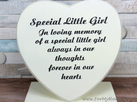 Special Little girl Heart Graveside memorial plaque LP25338