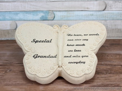 Special Grandad Butterfly Graveside memorial plaque LP22559