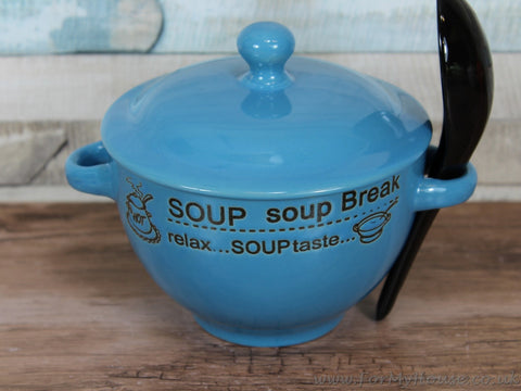 Soup bowl with coloured lid and spoon - soup break