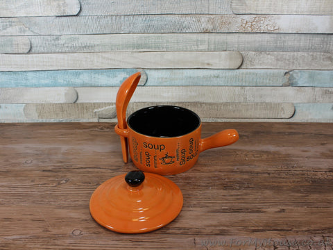 Soup bowl with handle and spoon - Mmm soup