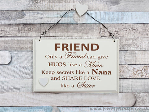 Friend Only a friend can … plaque sign