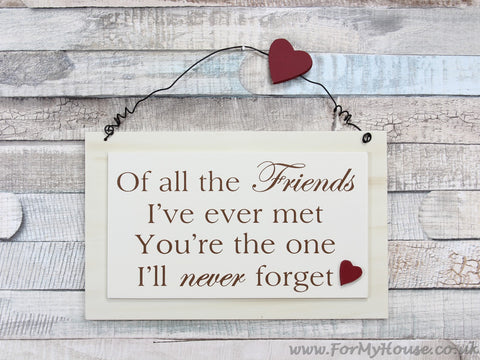 Of all the friends… plaque sign